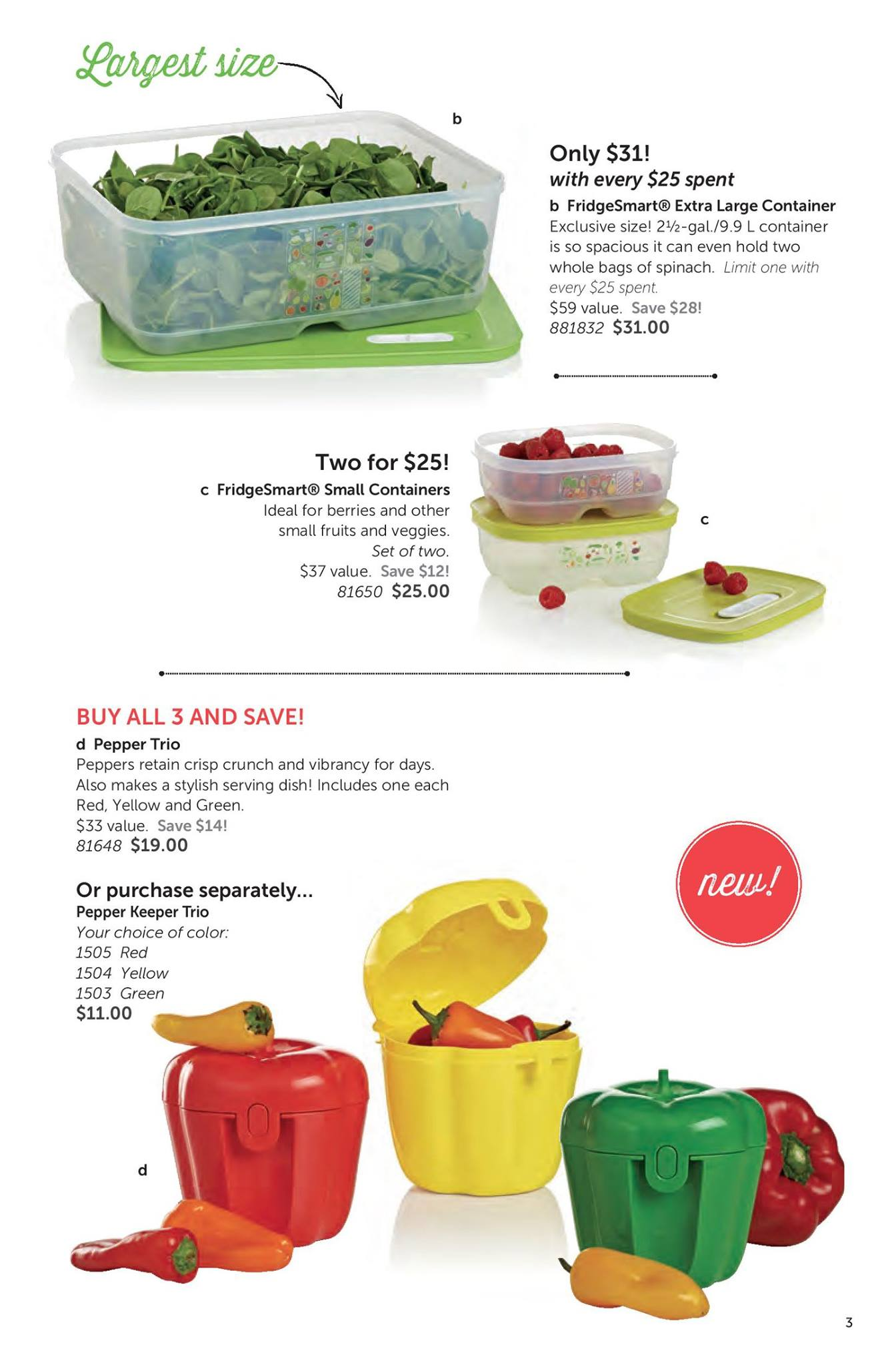 Tupperware Kaukinen Adventures Classy Red Collection 3 Fridgesmart Pepper Containers